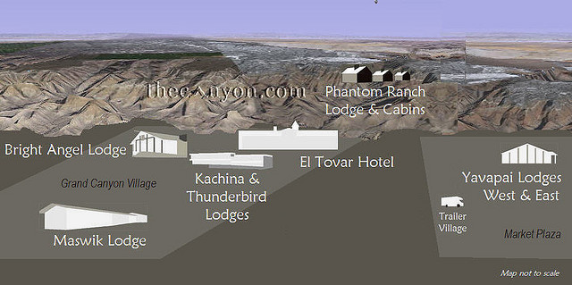 Map of Grand Canyon National Park Lodges on the South Rim